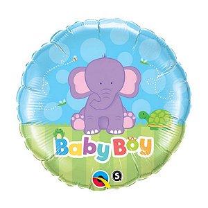 """Balão de Festa Microfoil 18"""" 45cm - Redondo Elefante - 01 Unidade - Qualatex - Rizzo Embalagens"""