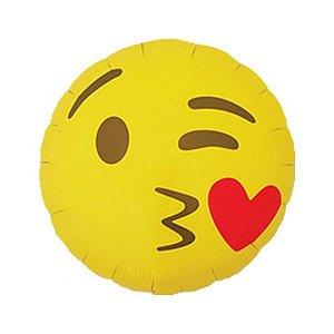 """Balão de Festa Microfoil 18"""" 45cm - Emoji Beijoca - 01 Unidade - Qualatex - Rizzo Embalagens"""