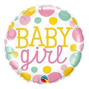 """Balão de Festa Microfoil 18"""" 45cm - Baby Girl - 01 Unidade - Qualatex - Rizzo Embalagens"""