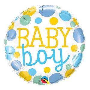 """Balão de Festa Microfoil 18"""" 45cm - Baby Boy - 01 Unidade - Qualatex - Rizzo Embalagens"""