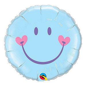 """Balão de Festa Microfoil 18"""" 45cm - Carinha Sorridente Azul - 01 Unidade - Qualatex - Rizzo Embalagens"""
