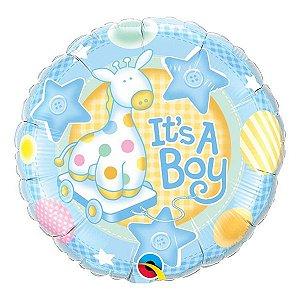 """Balão de Festa Microfoil 18"""" 45cm - É Um Menino Girafa - 01 Unidade - Qualatex - Rizzo Embalagens"""