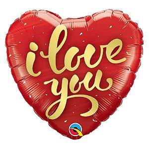 """Balão de Festa Microfoil 18"""" 45cm - Coração I Love You Ouro - 01 Unidade - Qualatex - Rizzo Embalagens"""