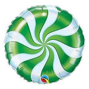 """Balão de Festa Microfoil 18"""" 45cm - Bala Espiralada Verde - 01 Unidade - Qualatex - Rizzo Embalagens"""