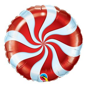 """Balão de Festa Microfoil 18"""" 45cm - Bala Espiralada Vermelha - 01 Unidade - Qualatex - Rizzo Embalagens"""