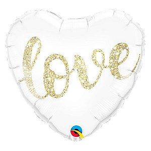 """Balão de Festa Microfoil 18"""" 45cm - Coração Branco Love - 01 Unidade - Qualatex - Rizzo Embalagens"""