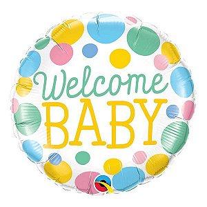 """Balão de Festa Microfoil 18"""" 45cm - Welcome Baby - 01 Unidade - Qualatex - Rizzo Embalagens"""