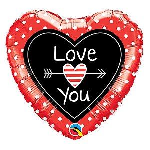 """Balão de Festa Microfoil 18"""" 45cm - Coração Love You Flechas - 01 Unidade - Qualatex - Rizzo Embalagens"""