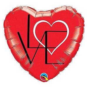 """Balão de Festa Microfoil 18"""" 45cm - Coração Vermelho Love - 01 Unidade - Qualatex - Rizzo Embalagens"""