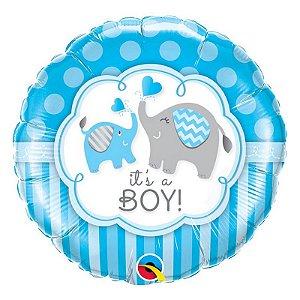 """Balão de Festa Microfoil 18"""" 45cm - É Um Menino Elefante - 01 Unidade - Qualatex - Rizzo Embalagens"""