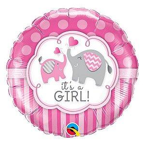 """Balão de Festa Microfoil 18"""" 45cm - É Uma Menina Elefante - 01 Unidade - Qualatex - Rizzo Embalagens"""