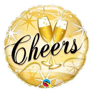 """Balão de Festa Microfoil 18"""" 45cm - Redondo Cheers - 01 Unidade - Qualatex - Rizzo Embalagens"""