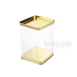 Lata Quadrada Transparente Ouro - 7,2x12cm - 06 unidaes - ArteGift - Rizzo Embalagens