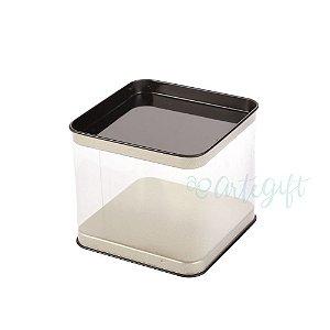 Lata Quadrada Transparente Preta - 8,2x7,2cm - 06 unidades - ArteGift - Rizzo Embalagens