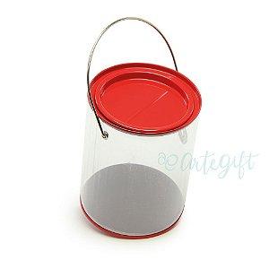 Lata Alça G Vermelha - 9x11,5cm - 04 unidades - Artegift - Rizzo Embalagens