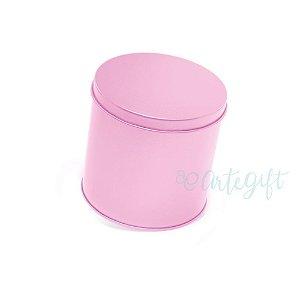 Lata Redonda para Lembrancinha Rosa - 10x10cm - 01 unidade - Artegift - Rizzo Embalagens