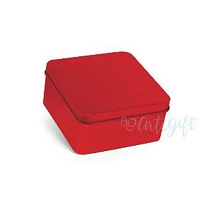 Lata Quadrada para Lembrancinha Vermelha M - 9,5x4,5cm - 06 unidades - Artegift - Rizzo Embalagens