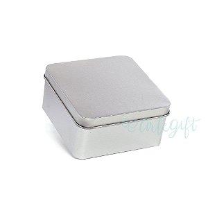Lata Quadrada para Lembrancinha Prata M - 9,5x4,5cm - 06 unidades - Artegift - Rizzo Embalagens
