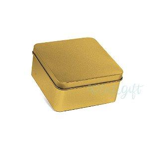 Lata Quadrada para Lembrancinha Ouro M - 9,5x4,5cm - 06 unidades - Artegift - Rizzo Embalagens