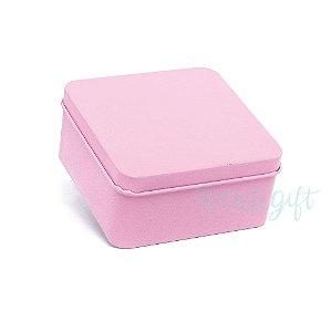 Lata Quadrada para Lembrancinha Rosa M - 9,5x4,5cm - 06 unidades - Artegift - Rizzo Embalagens