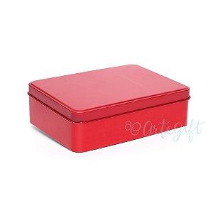 Lata Retangular para Lembrancinha Vermelha - 12x9x4cm - 06 unidades - Artegift - Rizzo Embalagens