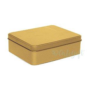 Lata Retangular para Lembrancinha Ouro - 12x9x4cm - 06 unidades - Artegift - Rizzo Embalagens