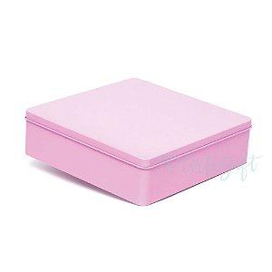 Lata Quadrada para Lembrancinha Rosa G - 19,5x5,5cm - 01 unidade - Artegift - Rizzo Embalagens