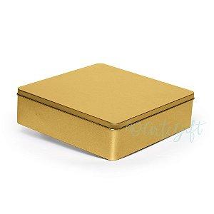 Lata Quadrada para Lembrancinha Ouro G - 19,5x5,5cm - 01 unidade - Artegift - Rizzo Embalagens