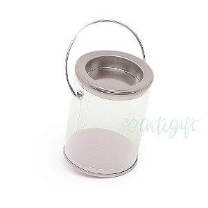 Mini Lata Tinta Prata - 4x7cm - 06 unidades - Artegift - Rizzo Embalagens