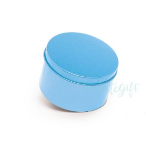 Lata Redonda para Lembrancinha Azul - 7,5x4cm - 06 unidades - Artegift - Rizzo Embalagens