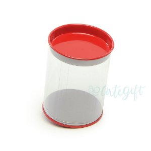 Tubo Lata Vermelho - 8,5 x 6,3cm - 6un - Artegift - Rizzo Embalagens