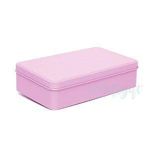 Lata Retangular para Lembrancinha Rosa - 11,5x19cm - 01 unidade - Artegift - Rizzo Embalagens