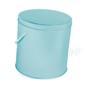 Lata Redonda para Lembrancinha com Alça Azul - 14x14cm - 01 unidade - Artegift - Rizzo Embalagens
