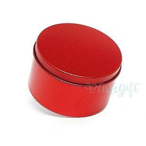 Lata Redonda para Lembrancinha Vermelha - 10x4cm - 01 unidade - Artegift - Rizzo Embalagens