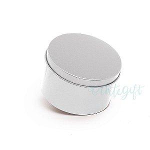 Lata Redonda para Lembrancinha Prata - 10x4cm - 01 unidade - Artegift - Rizzo Embalagens