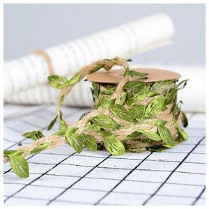 Fio Decorativo Juta com Folhas 3m - ArtLille - Rizzo Embalagens