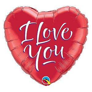 """Balão de Festa Microfoil 18"""" 45cm - I Love You Coração - 01 Unidade - Qualatex - Rizzo Embalagens"""