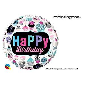 """Balão de Festa Microfoil 18"""" 45cm - Aniversário Cupcakes - 01 Unidade - Qualatex - Rizzo Embalagens"""