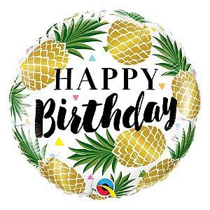 "Balão de Festa Microfoil 18"" 45cm - Happy Birthday Abacaxi - 01 Unidade - Qualatex - Rizzo Embalagens"