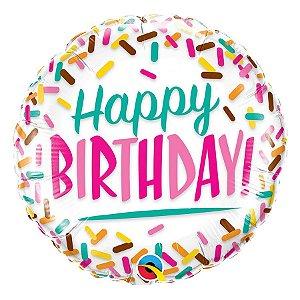 """Balão de Festa Microfoil 18"""" 45cm - Happy Birthday Granulado - 01 Unidade - Qualatex - Rizzo Embalagens"""