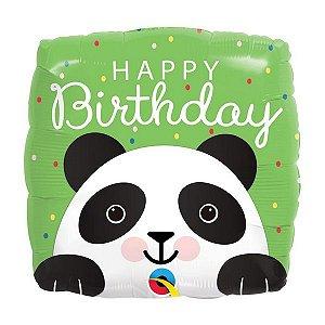 "Balão de Festa Microfoil 18"" 45cm - Happy Birthday Panda - 01 Unidade - Qualatex - Rizzo Embalagens"