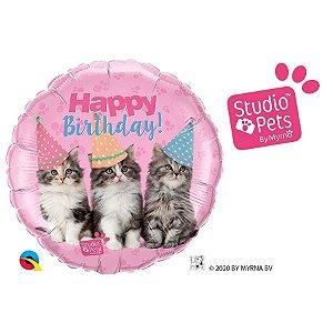 """Balão de Festa Microfoil 18"""" 45cm - Happy Birthday Gatinho - 01 Unidade - Qualatex - Rizzo Embalagens"""