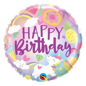 "Balão de Festa Microfoil 18"" 45cm - Happy Birthday Unicórnio - 01 Unidade - Qualatex - Rizzo Embalagens"