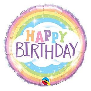 "Balão de Festa Microfoil 18"" 45cm - Happy Birthday Arco-Íris - 01 Unidade - Qualatex - Rizzo Embalagens"