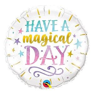 """Balão de Festa Microfoil 18"""" 45cm - Have a Magical Day - 01 Unidade - Qualatex - Rizzo Embalagens"""