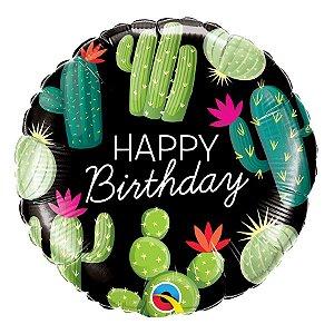 """Balão de Festa Microfoil 18"""" 45cm - Happy Birthday Cactos - 01 Unidade - Qualatex - Rizzo Embalagens"""