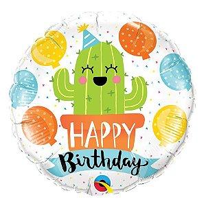 """Balão de Festa Microfoil 18"""" 45cm - Birthday Cactos - 01 Unidade - Qualatex - Rizzo Embalagens"""