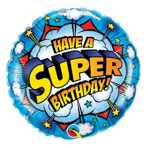 """Balão de Festa Microfoil 18"""" 45cm - Super Aniversário - 01 Unidade - Qualatex - Rizzo Embalagens"""