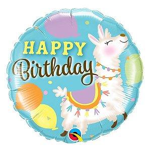 """Balão de Festa Microfoil 18"""" 45cm - Aniversário Lhama - 01 Unidade - Qualatex - Rizzo Embalagens"""