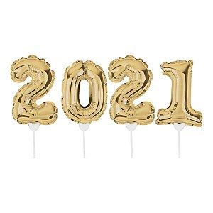 Topo de Bolo de Balão Auto Inflável 2021 - Ouro - Cromus - Rizzo Embalagens